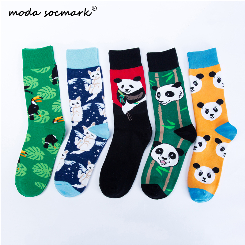 Moda Socmark 2019 New Arrival Happy Socks Men/Women Fashion Casual Funny Long Sock Panda Animal Pattern Cotton Skateboard Socks