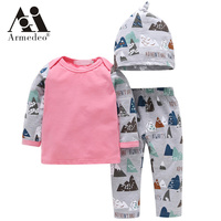 2017 Autumn Style Baby Boy Clothes Fashion Cotton Baby Girl Clothing Set Casual Romper Pants Hat