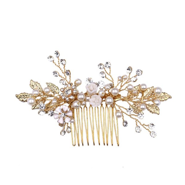 Купить золото цвет лист расчески для волос ювелирные изделия стразы