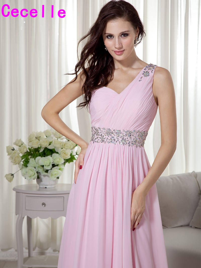 2017 pink long one shoulder beaded chiffon bridesmaid dresses 2017 pink long one shoulder beaded chiffon bridesmaid dresses gowns with strap for women bridesmaid robes cusstom made sale in bridesmaid dresses from ombrellifo Images