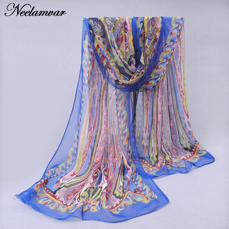 novi svileni šal iz šafonke Georgette ženske Bohemia dolge šal - Oblačilni dodatki - Fotografija 5