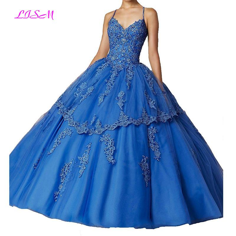 Puffy 2019 Cheap Quinceanera Dresses Ball Gown Sleeveless Tulle Appliques Lace Crystals Sweet 16 Dresses