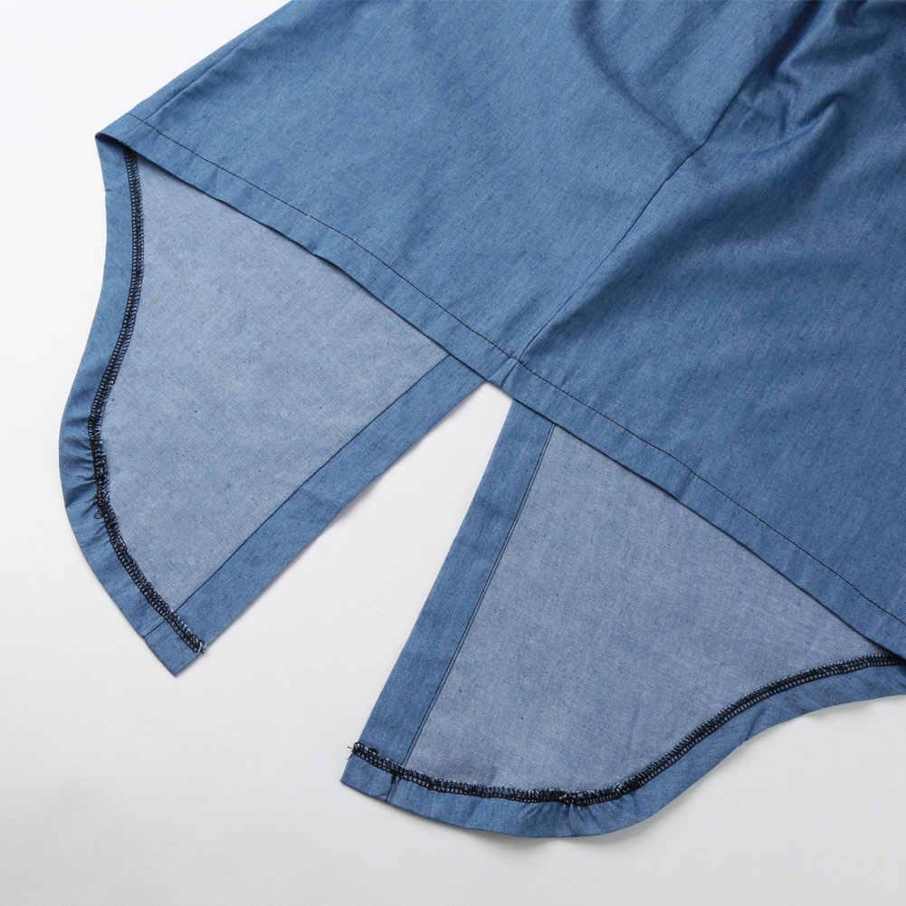 Для женщин Джинсовая туника платье нерегулярные Высокий Низкий Подол галстук-бабочку Джинсы для женщин платье Стенд Воротник Половина рукава Повседневное один- шт синий Vestidos