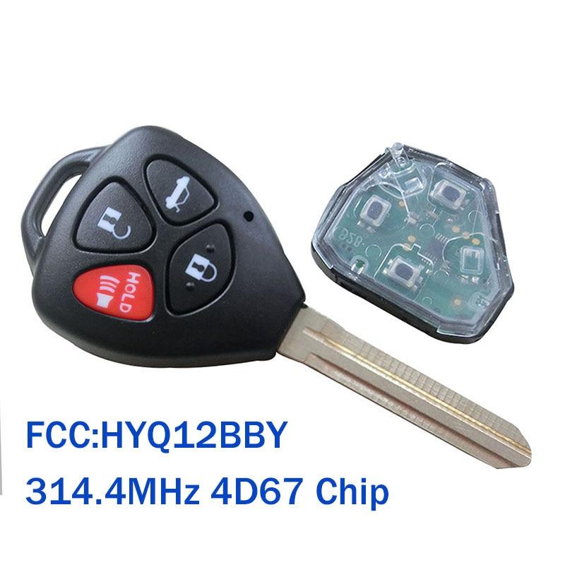314,4 мГц 433 мГц автомобиль дистанционного брелок для Toyota Camry 2007 2008 2009 2010 4D67 чип оригинальные ключи для toyota HYQ12BBY 1 заказ