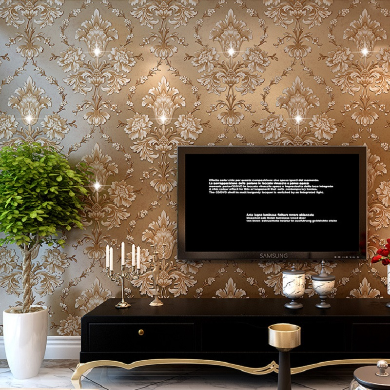 10m hot selling 3d diamond wallpaper modern damask wall for Selling wallpaper