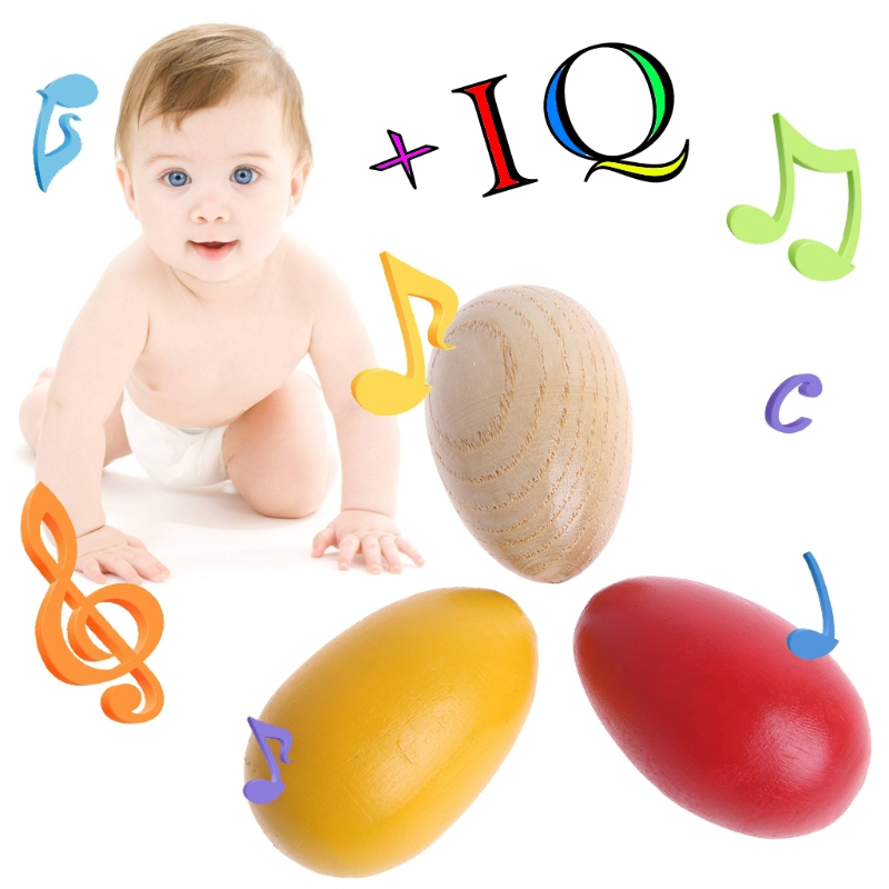 Wooden Percussion Musical Egg Maracas Shakers Children Kids Toys Fun Gifts