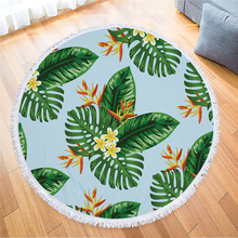 Tropical Leaves Flower Round Beach Towel Tassels Microfiber Bath Towels For Adults Large Travel Yoga Mat Shower Towels Bathroom leaves flower pattern round beach throw