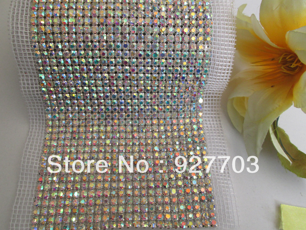 (CM263)1 Yards 12mm SS20 24 Rows AB Crystal Bling Rhinestone Mesh Wedding Tier Trim