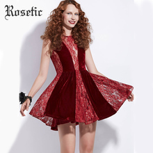 Rosetic Sexy Lace Patchwork Velour Hollow Out  Sleeveless Perspective Summer Women Dresses