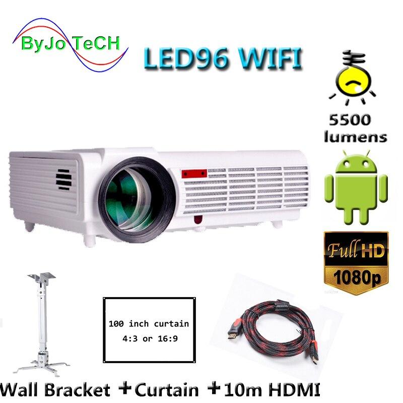 Poner Saund LED96 WIFI Projecteur 3D Sans Fil Multi-écran interactif Proyector android6.0 10 m HDMI support Mural Rideau Vs bt96