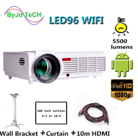 Poner Saund LED96 WIFI Projector 3D Wireless Multi screen interactive Proyector android6.0 10m HDMI Wall bracket Curtain Vs bt96