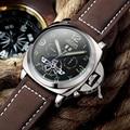 JEDIR mechanical watch Men Brand Genuine Leather Strap Analog Display Date Men's Quartz Watch Casual Men Watch relogio masculino