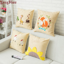 40x40cm Home Decorative Polyester Peachskin Embroidered Silka Deer Sparrow Carp Sunflowers Pillow Case Pillow Cover
