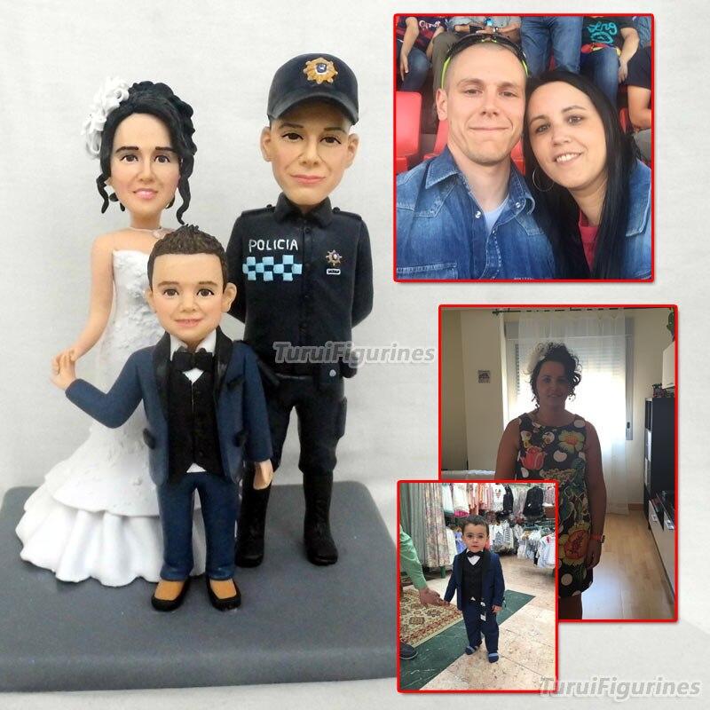 OOAK семейные подарки пользовательские фигурка всех членов семьи персонализированные пользовательские sweet love свадебный торт Топпер кукла по