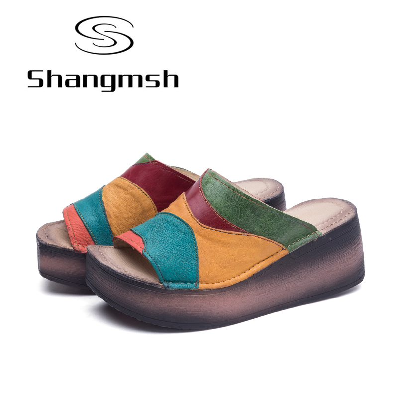 Shangmsh Women Shoes Fashion Slippers Genuine Leather Platform Wedges Shoes For Women Casual Slides elevator 2015 autumn single shoes women s black genuine leather wedges casual shoes dawdler women s platform shoes