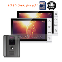 FREE SHIPPING 9″ Color Record Monitor Video Door phone Intercom System 2 Screens + Night Vision Outdoor Camera + 8G SD IN STOCK