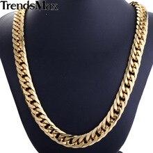 Trendsmax Chapados En Oro de Doble Rombo Moda Curb Enlace Mens Boys Cadena del Acero Inoxidable 316L Collar HN57 HN58
