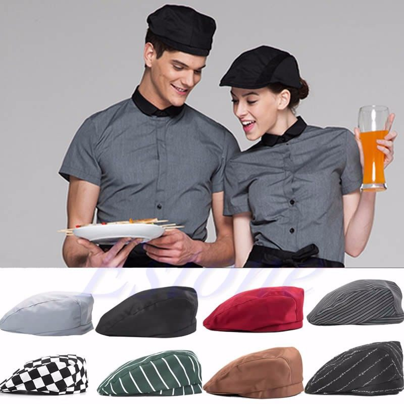 b4542098189 Fashion Men Women Chef Hat Catering Baker Kitchen Cook Duckbill Beret Golf  Caps