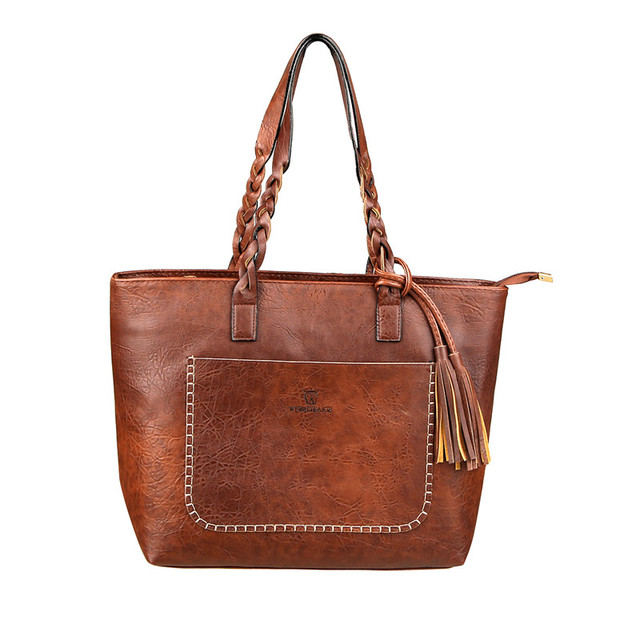 Vintage Handbag Women Brown Leather Shoulder Bag Ladies ...