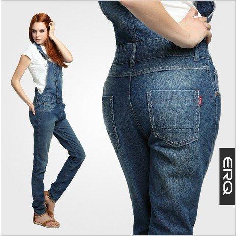 b1515e483e76 Free Shipping New Women s Denim Overalls Extra Large Plus size Denim  Jumpsuit Straight jeans coveralls pants -G164