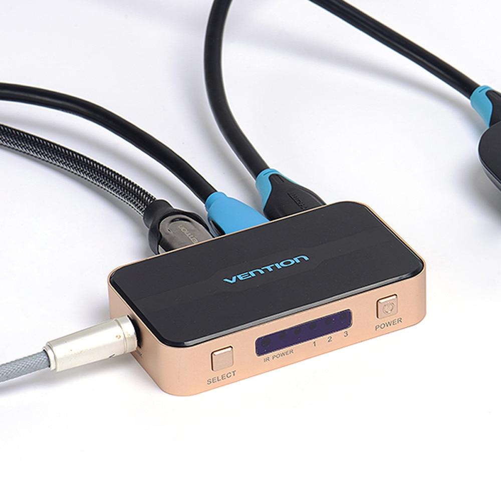 VENTION 3 ZU 1 HDMI Port Switcher Splitter Mit Audio HDMI 2.0 4K Remote Control
