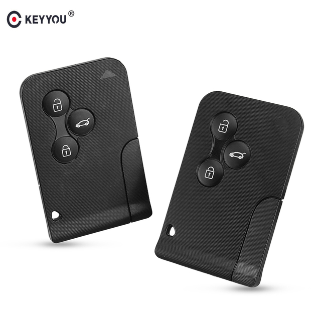 KEYYOU 3 Button Smart Card For Renault Clio Logan Megane 2 3 Koleos Scenic Card Case Black Car Key Fob Shell With Small Key