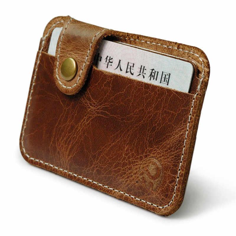 Marrom Carteira Magro Homens Mulher Pequeno Mini Carteira Bolsa ID Titular do Cartão de Crédito Caso Bolsa Saco PU Bolso De Couro Minimalista carteira