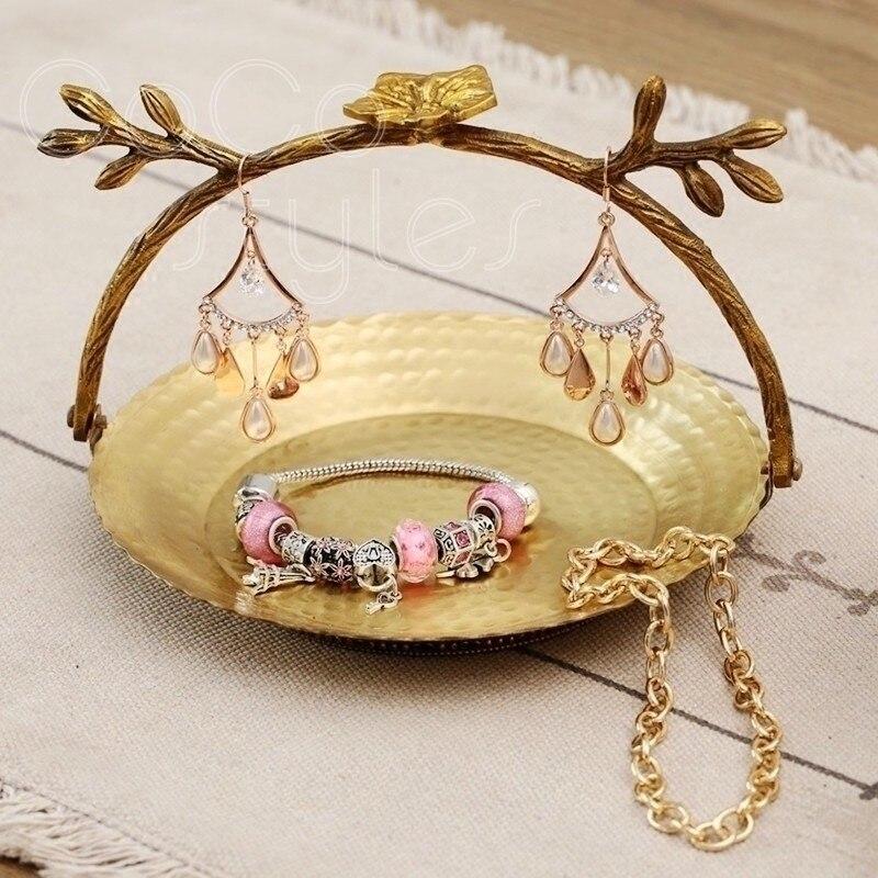 Cocostyles InsFashion joli panier en forme de bijoux en laiton fait à la main présentoir pour cadeau de petite amie et décor à la maison de style charmant