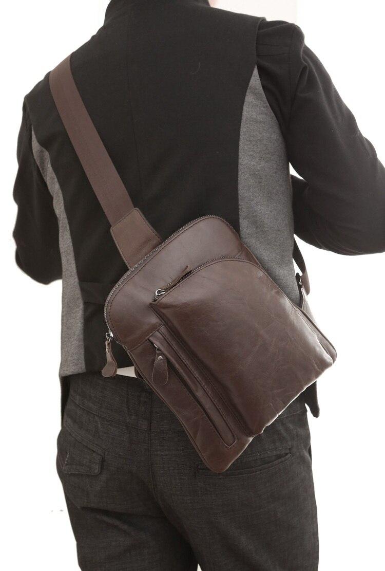100% Genuine Leather Mens Chest Bags Popular Shoulder Bag Man 7194C