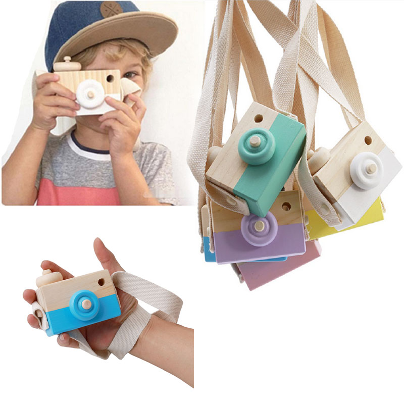 2019 Cute Wooden Toy Camera Baby Kids Hanging Camera Photography Prop Decoration Children Educational Toy Birthday Gifts I0090