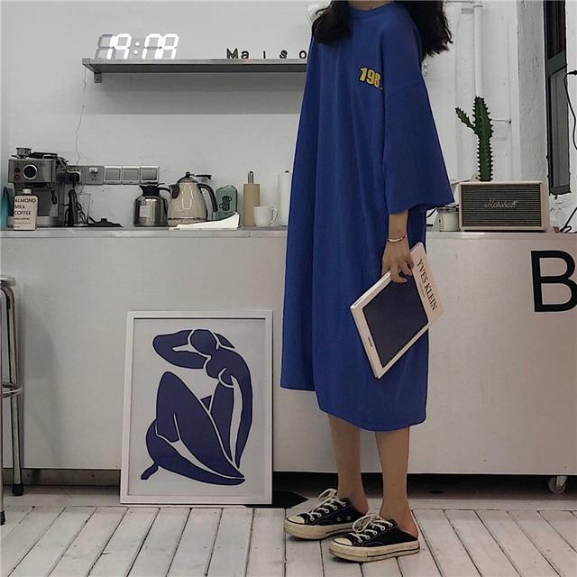 6387abe3ad Korean Chic Lazy Oversized Female White T shirts Dress Summer Japanese  Simple Words Big Size Street