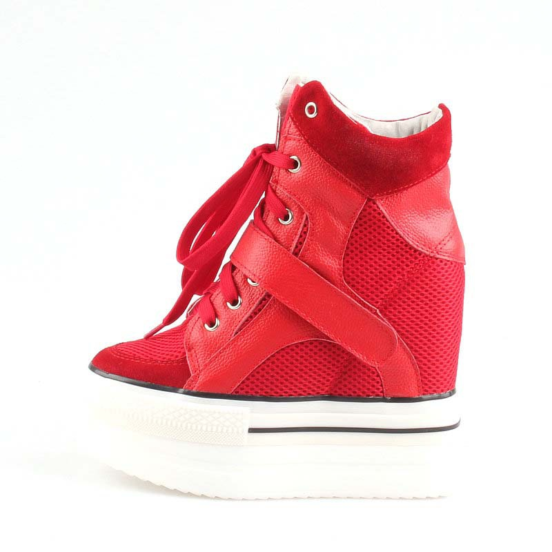 height increasing 11-13 cm Hot Sale 2017 New Women's Fashion spring autumn high platform Wedges Lace up breathable Casual shoes chilenxas 2017 spring autumn comfortable casual shoes canvas men leather breathable new fashion height increasing lace up solid