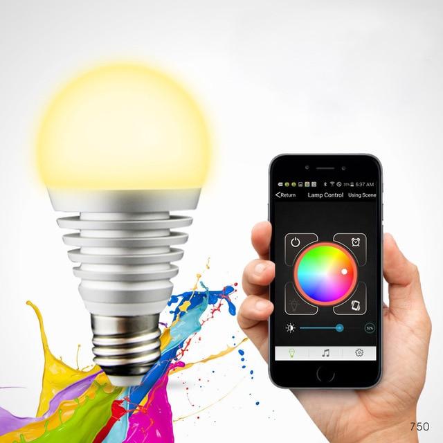 Bluetooth LED RGB Smart Light E27 Bulb Smartphone Controlled ...