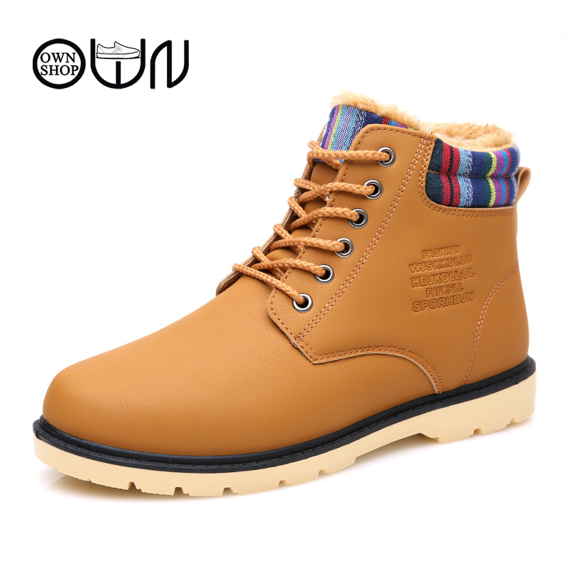 DZT Men Winter Warm Boots Casual Waterproof Anti-Slip Shoes Plush Snow Boots (Plz note that the size is small) See Details Product - DZT® Men Ankle Boots Fur Lined Winter Autumn Warm Shoelace Martin Boots Shoes DB/