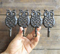 Rustic Cast Iron Four Owl Wall Hook