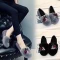 women shoes Flats Women Flat heel Shoes Lazy Shoes Soft leather Rbbit a Mao elastic cloth flat shoes