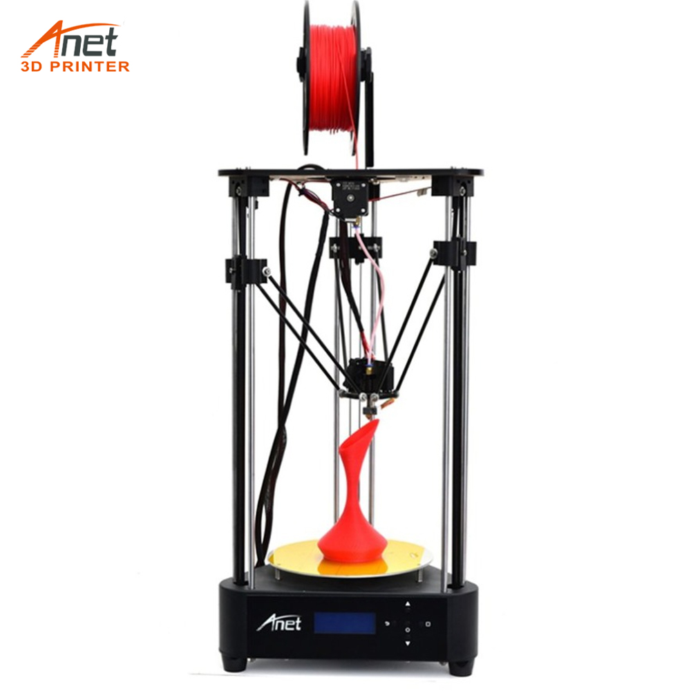Anet A4 Delta 3D Printer 3D DIY Printer Kit Printing Size 200 * 210mm Machine Box Easy to Assemble with 0.5Kg PLA Filament anet a9 3d printer easy assemble with metal plate aluminum frame high precision imprimante 3d diy kit with pla abs filament