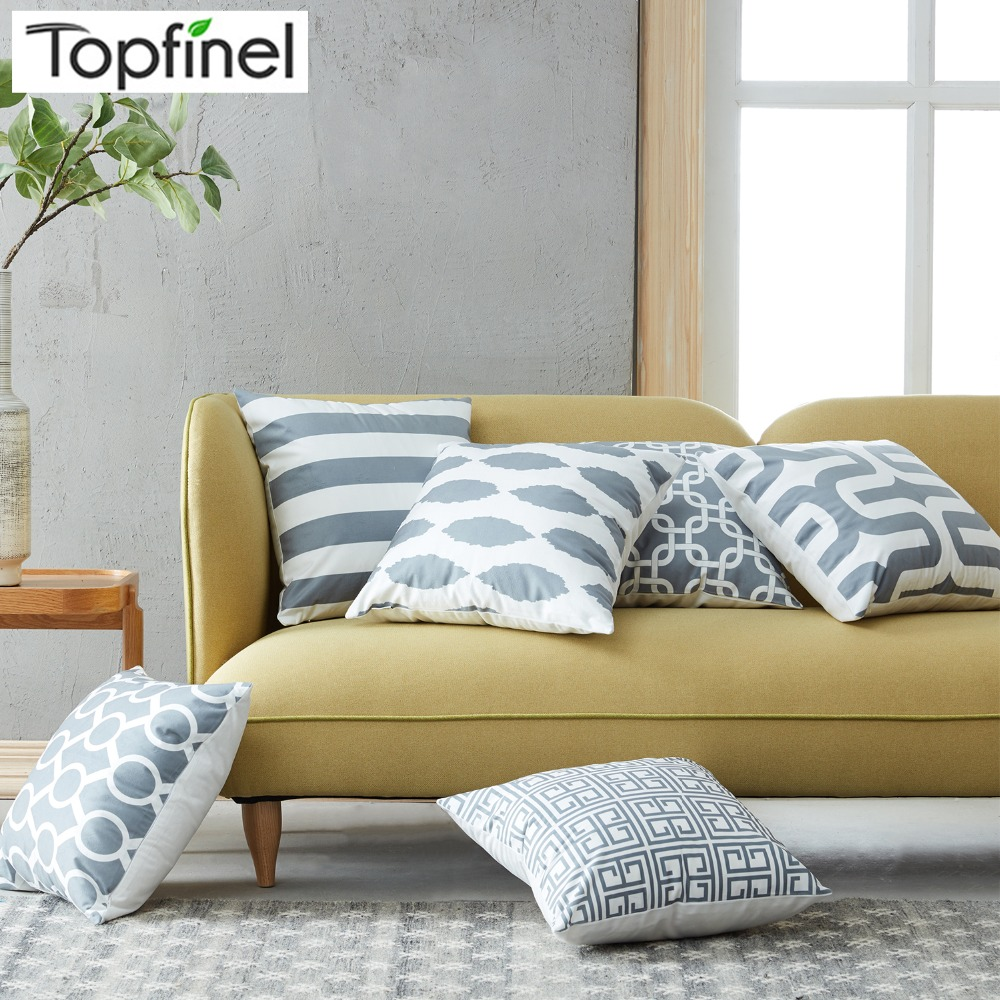Topfinel Geometric Cushion Cover Cheap Grey Pillow Covers for Puff Sofa Seat Chair Velvet Decorative Throw Pillow Covers Cases