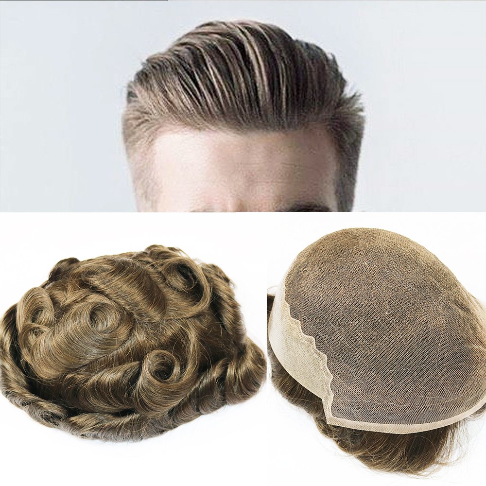 SimBeauty Q6 Base Men Toupee Swiss Lace With Skin Toupee Various Color Remy Human Hair Mens Hairpieces Replacement System Wigs