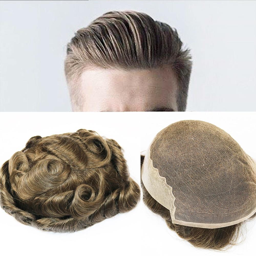 SimBeauty Q6 Base hommes toupet dentelle suisse avec peau toupet diverses couleurs Remy cheveux humains hommes postiches système de remplacement perruques