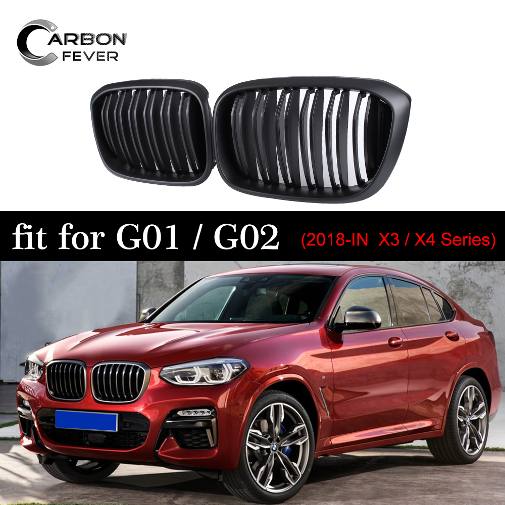 Single Double Slats Front Kidney Grill For BMW X3 G01 X4 G02 ABS Matte Black Racing Grills xDrive20i xDrive30i 2018+