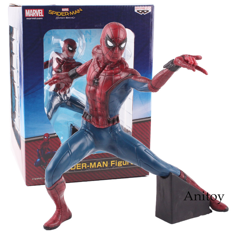 Marvel Spiderman Figure Spider Man Homecoming PVC Action Figure Collectible Model Toy 19cm KT4787 spider man homecoming spiderman iron man mk47 pvc figure collectible model toy with retail box 2 styles