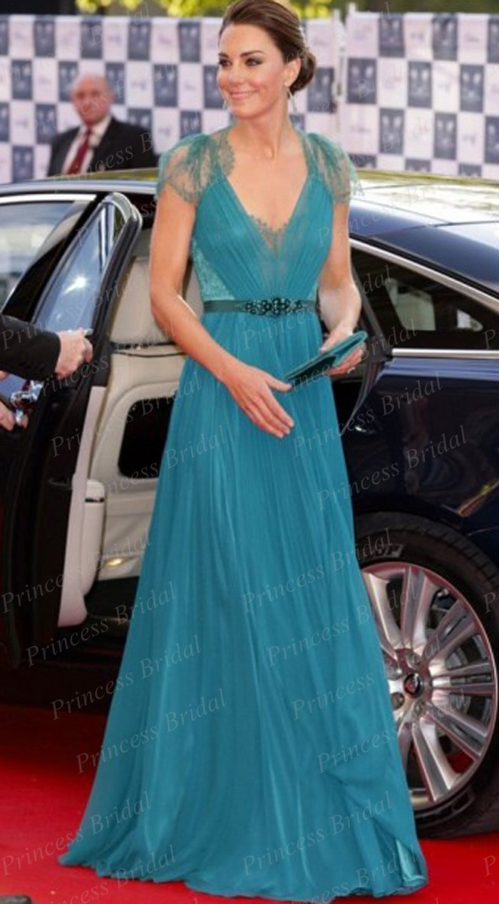 Kate Middleton vaina V Cuello de Manga Corta Azul de Encaje de Gasa ...