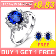 JewelryPalace 3.2ct Created Blue Sapphire Princess Diana Crown Halo Engagement 925 Sterling Silver Rings Jewelry For Women(China)