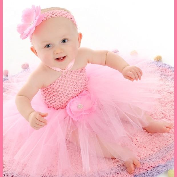 """Szép baba horgolt Tutu ruha lányok kézzel készített 1Layer fűző balett tüll Tutus szíj ruha 4 """"százszorszép virág gyerek fél ruha"""