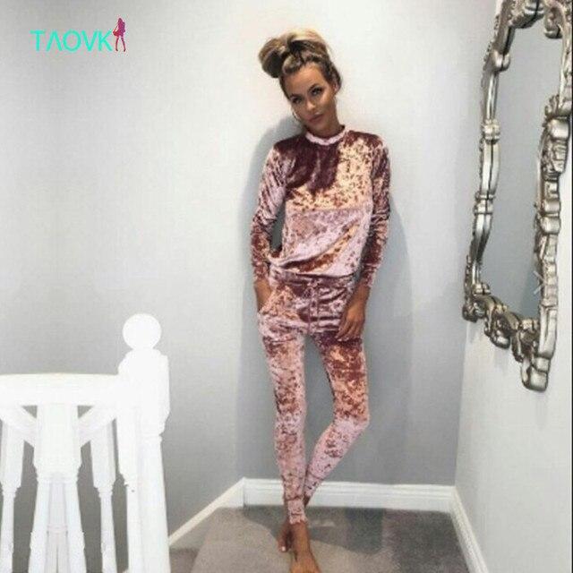 TAOVK 2016 new fashion  Soft Velour Tracksuit  Autumn 4 colors Velvet Women Hoodies 2-Piece Set (Hooded Sweatshirt+Long Pants)