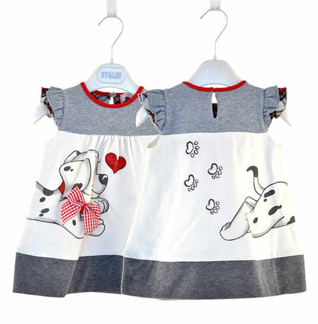 New Summer Baby Pure Cotton A Dress Girl A Dress Dog Print Lovely Girl's Clothes 1-2 Years Old