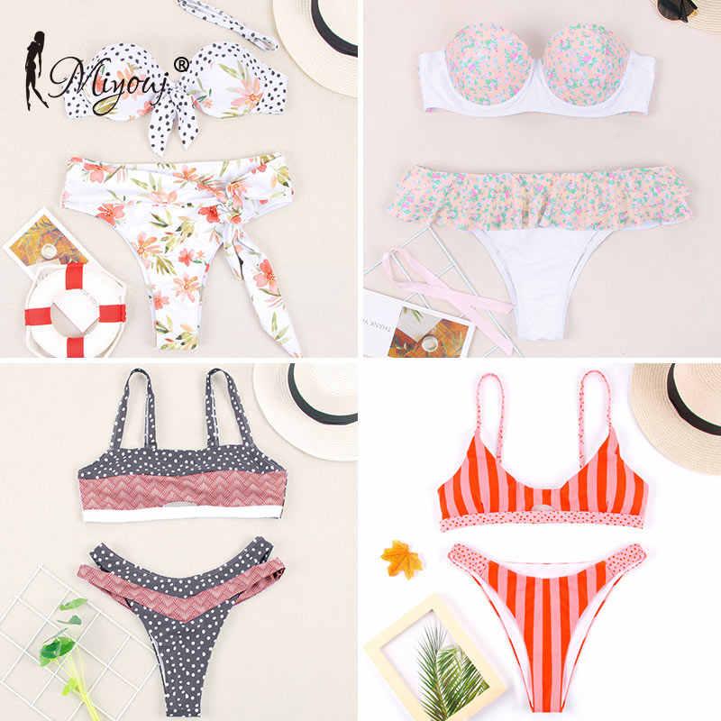 Miyouj de traje de baño Floral venda bañador con lazo arriba Biquini femenino mujeres traje de baño las mujeres Bikini