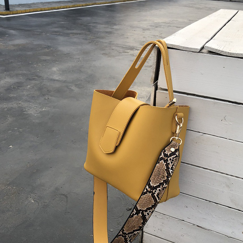 Casual Pu Bucket Bag Women Handbags Fashion Serpentine Shoulder Strap Bags Lady Shoulder Bag Large Capacity Composite Bags 2019