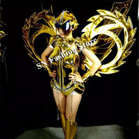 ES001 1 Gold mirror costumes/ Performance wings clothing/led dj Dance dress/catwalk model catwalk events/bar party stage wears